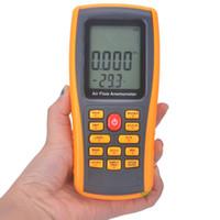 Wholesale Digital Tachometer Tester - Wholesale-Digital LCD Anemometer Tachometer With USB Wind Speed Measurement GM8902 Air Flow Tester Air Temperature Meter