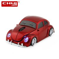 Wholesale hot beetles - Wholesale- Wireless Mouse Sports Car Shaped 2.4Ghz Optical VW Beetle Car Mice Mause 1600DPI For PC Laptop Computer Hot Sale