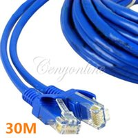 Wholesale Net Lan - Blue 30M 100 FT RJ45 CAT5 CAT5E Ethernet LAN Network Net Working Cord Cable Sync Line M to M For Computer Laptop Free Shipping