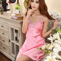 Wholesale Sexy Lace Mini Sleep Dress - Wholesale-Ladies Embroidered Sleeping Dress Sexy Faux Silk Lace Satin Strap v neck Mini Nightgown Sleepwear Pajamas FREE SHIPPING