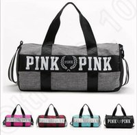 Wholesale Soft Travel - Women Handbags VS Pink Large Capacity Travel Duffle Striped Waterproof Beach Bag Shoulder Bag 30pcs OOA781