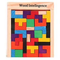 Wholesale Wholesale Russian Wooden Toys - 2016 Wooden Russian Tetris Puzzle Jigsaw Intellectual Building Block and Training Toy for Early Education Children wood intellegence Toys