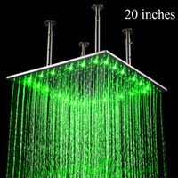 best led head temperature - 20 inches square led over head rain shower top stainless steel shower head bathroom design 3 color change by water temperature shower faucet