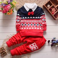Wholesale Child Tie Set - Autumn kids clothes boys gentleman suit bow tie top+pant set 2 pieces children stripe clothes suit