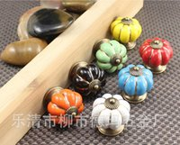 Wholesale Drawer Handles For Furniture - Furniture For Kitchen Ceramic Door Knobs Vintage Pumpkin Cabinet Drawer Cupboard Kitchen Pull Handles