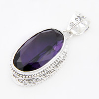 Wholesale Vintage Sterling Silver Amethyst Pendant - Luckyshine 6Pcs Lot Vintage Royal Style Amethyst Gems 925 Sterling Silver Plated Pendants Russia Australia USA Pendants Jewelry