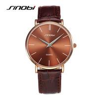 Wholesale Sinobi Stainless Steel Black - SINOBI Super Slim Quartz Casual Wristwatch Business JAPAN Brand Genuine Leather Analog Quartz Watch Men's 2016 Relojes Hombre