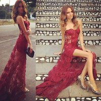 Wholesale American Sweetheart Pink - 2017 Latin American Mermaid Split Evening Dresses Sweetheart Burgundy Lace Appliques Open Back Sweep Train Prom Gowns