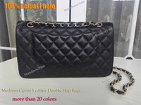 Wholesale Diamond Quilted - 100% Actual Photo Black Quilted Caviar Leather Flap Bag Gold Hardware Women's Genuine Leather Shoulder Bags Brandnew5566