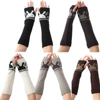 Wholesale Women rabbit print Knitted Wrist Arm Long Fingerless Mitten Winter Gloves Soft Warm gloves