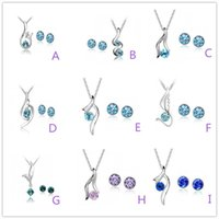 Wholesale austrian pink crystal pendant resale online - Fashion White Gold Austrian Crystal Jewelry Sets rhinestone Pendant Necklace Earrings Wedding Part Prom Jewelry Sets Can be Mixed