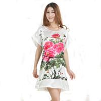 Wholesale Cute Red Sleepwear - Wholesale-Hot New Summer Style Women Silk Rayon Nightgown Cute Cartoon Sleepwear Short Sleeve Nightdress 20 Colors One Size S0103