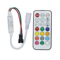 ws2812b ledli piksel şeridi toptan satış-Edison2011 Yeni Kontrol Led Şerit WS2811 WS2812B için 21 Anahtar IR Kontrol Piksel Modülü Işık DC5V-24V Kontrol Kabini Ücretsiz Gemi
