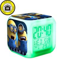 Wholesale Despicable Stuart - Despicable Me Minions with USB Charger Digital LED 7 Color Flash Night Light Alarm Clocks Jorge Dave Stuart reloj despertador