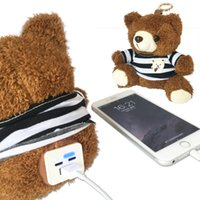Wholesale Teddy Bear For Mobile - CYKE Bear Power Bank with Teddy Bear V8 Double Input External Harger Powerbank for Mobile Phone for Xiaomi for Girls