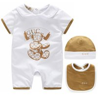 Wholesale Newborn Clothes For Girls - Summer baby hawk fashion english jumpsuit white print shorts newborn romper for boys girls clothes