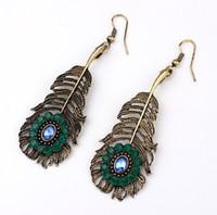 Wholesale Hook Diamond Earrings - Bohemia Style Leaves Shape Earrings 10PRS Boutique Hook Earrings Women Exotic Holiday Earrings Green Diamond Charm Earrings