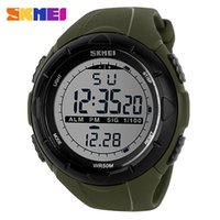 Wholesale Skmei Waterproof - SKMEI Men Climbing Sports Digital Wristwatches Big Dial Military Watches Alarm Shock Resistant Waterproof Watch 1025