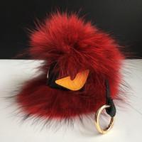"Wholesale Face Fur - 7"" Large red Real Raccoon Fur Monster Cool Face Bug bag Charm Ball Pompom Keychain Holder Backpack Tassel Pendant Handbag"