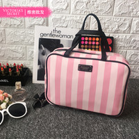Wholesale Zebra Cosmetic - landy house High-capacity victoria's Zipper Makeup Bag Lip Zebra Dot Flowers Pattern Women's Travel Cosmetic Bag Free Shipping