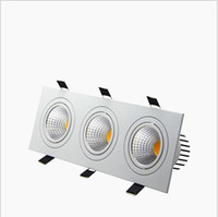 Wholesale Led Puck Ceiling Lights - Super Bright Recessed LED Dimmable 3 head Square Downlight COB 15W 21W 30W 36W LED Spot light Ceiling Lamp AC85-265V led puck lights