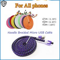 Noodle Braided USB Cable Sync Data Charging 1m 2m 3m Cord Flat For Galaxy S7 Note 5 I PHONE 6 7