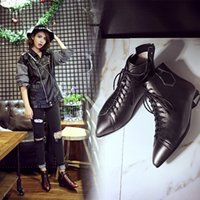 Wholesale Sexy Mixed Big Woman - Genuine Leather Pointed Toe Sexy Lace up Women Boots Fashion Retro Big Size Ankle Boots Slip on Squre Heels Low heel Leather shoes Lady