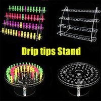 Wholesale Acrylic Show Cases - Mixed styles Acrylic e cig display clear stand shelf holder base vape rack box show case for mini battery ecig atomizer ego 510 drip tips
