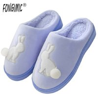Wholesale grey pink bedroom - FONGIMIC Men Women Slippers Casual Cotton Shoes Winter Keep Warm Couple Plush Slippers Cute Comfortable Bedroom Floor Slippers