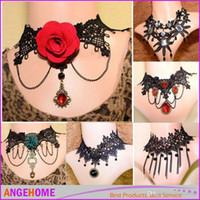 Wholesale Handmade Bridal Necklaces - 2016 Fashion Women Vintage Handmade Retro Short Gothic Steampunk Lace Flower Choker Necklace Jewelry lace necklace Pendant for Bridal Brides