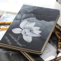 "Wholesale Cute Notebook Diary - ""Lotus Flower"" Hard Cover Blank Diary Sketchbook Cute Planner Pocket Journal School Study Business Notebook Memo Agenda Notepad Gift"