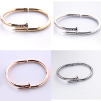 Wholesale Korean Fashion Accessories Wholesaler - Fashion Female Titanium Steel Nail Bracelets Screw Bangle lovers Simple Bangles Korean Accessories Nail bracelet Free DHL