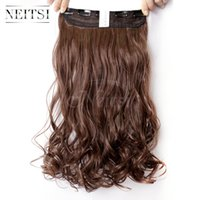 """Wholesale Clip Hair Extensions Kanekalon - Neitsi 1PC 107g 22"""" 8# Light Ash Brown 5Clips Kanekalon Synthetic Braiding Hair Pieces Clip In Hair Curly Wavy Weave Extensions"""