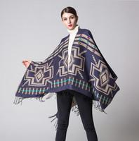 Wholesale Thick Acrylic Blankets - Women Winter Faux Cashmere Pashmina Shawl Fashion Boho Style Plaid Thick Warm Blanket Poncho Feminino Inverno Scarves and Stoles