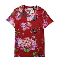 Wholesale Designer Beaded Tops - Fashion Runway Brand Designer Women Short Sleeve Vintage Floral Print Bee Beaded T Shirt With Headband Casual Tees Top