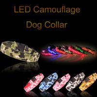 ingrosso ha condotto il collare del cane di incandescenza-Collare a LED per camo da promozione Collare a pet collare per bagliore di nylon lampeggiante Collare satinato per cani 8 colori taglia S M L XL
