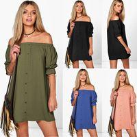 Wholesale Off Shoulder Shirts Wholesale - Women Fashion Sexy Off Shoulder Short Sleeves Mini Dress Casual Slash Neck Long Blouse Dress T-Shirt