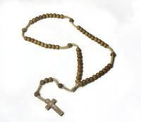 collar de cuentas de madera joyas al por mayor-Colgante de cruz con cuentas de madera Collar de dijes Joyería cristiana Religioso Jesús Rosario Cuentas de madera