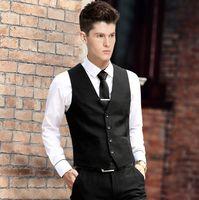 Wholesale Men S Gray Dress Vests - Wholesale-Vest Dress Men Formal Business Party Mens Dress Vest Suit Male Colete Masculino Gilet Homme Vest Dress Men
