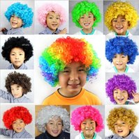 Wholesale Wigs Red Orange - Halloween Afro Hair Curly wig Child Adult Party Costume Disco Bar Show Clown Football Fan Colorful Hair Wigs 16 styles Fedex Dhl