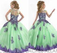Wholesale Little Girl Princess Ball Gowns - 2016 RACHEL ALLAN Ball gown Princess Little Girls Pageant Dresses Jewel neckline Sheer Zipper Appliques LaceFlower girls Dress with HY682