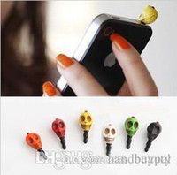 Wholesale Skull Dust Plug - Wholesale 3.5mm Punk style Color Skull head Skeleton Dust Cap Charm Plug Earphone Jack Dustproof Cover for iPhones phones RJ1557 0416dd
