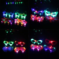 Wholesale Masquerade Masks Led Lights - Butterfly LED Flashing Glasses Light Up Rave Toys For Halloween Masquerade Mask Dress Up Christmas Party Decoration Supplies
