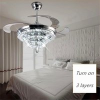 LED Crystal Chandelier Fan Lights Invisible Fan Crystal Lights Sala de estar Quarto Restaurante Moderno Ventilador de teto 42 polegadas com controle remoto