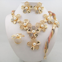 Wholesale Set Earrings Necklace Price - Gorgeous chrysanthemum gold Nigerian African Beads Jewelry Set Dubai Gold Wedding Jewelry Set Wholesale Price Sets Free shipping