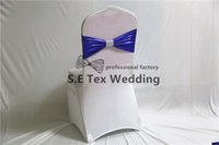 Wholesale Diamond Buckle Sash - Good Looking Double Layer Bronzing Coated Lycra Band \ Spandex Chair Sash With Diamond Buckle For Wedding & Event Decoration