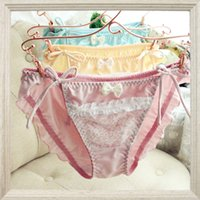 Wholesale Tying Panties - Wholesale-Hot Selling Women's Underwear Silk Cotton Side Tie Lady's Bikini Lace Panties