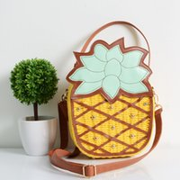 Wholesale Exclusive Handbags - Wholesale-Exclusive Listing Beach Bag 2015 New Cute Fruit Pineapple Package Pure Hand Woven Circular Women Handbag Messenger Bags