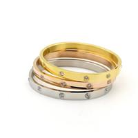 altın sonsuzluk takı toptan satış-Güzel Paslanmaz Çelik Infinity Charm Bileklik Çift Takı Aşk Hediye Gül Altın kristal Bilezik Bilezik Kadınlar Bileklik paslanmaz çelik takı