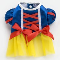 Wholesale Wholesale Party Seasons - Pets Apparel Dogs Snow White Costumes Cute Pet Supplies For Parties Christmas Halloween Decoration 6 Sizes Cotton Dresses